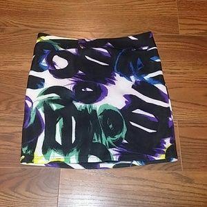 Bebe graffiti scuba mini skirt medium